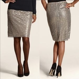 Gold sequined pencil skirt Chicos